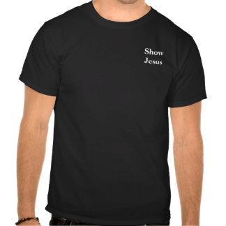 Muestre a Jesús blanco en el negro bolsillo Camisetas