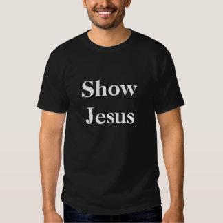 Muestre a Jesús, blanco en el negro, centrado Poleras