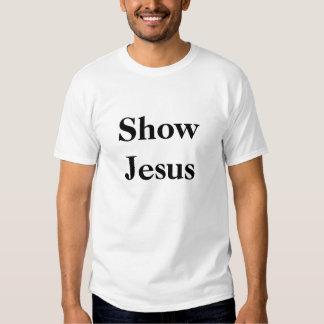 Muestre a Jesús, negro en el blanco, centrado Polera
