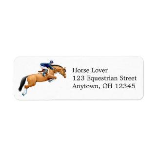 Muestre la etiqueta de salto del caballo etiqueta de remite