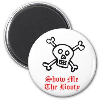 Muéstreme el cráneo del pirata del botín imán redondo 5 cm