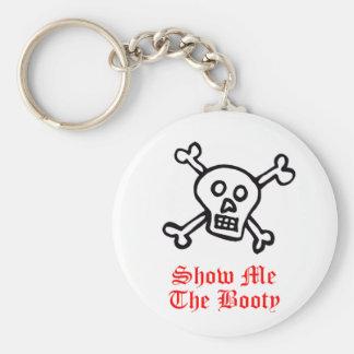 Muéstreme el cráneo del pirata del botín llavero redondo tipo pin