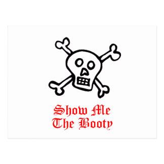 Muéstreme el cráneo del pirata del botín postal