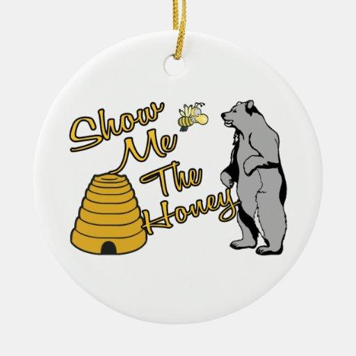 Muéstreme la miel adorno navideño redondo de cerámica