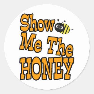 muéstreme la miel etiqueta redonda