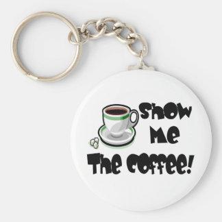 Muéstreme las camisetas y los regalos del café llavero redondo tipo pin