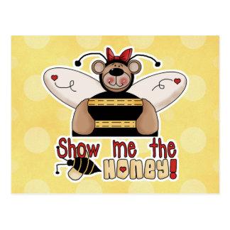 Muéstreme que la miel manosea el oso tarjetas postales