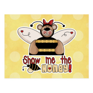 Muéstreme que la miel manosea el oso tarjeta postal