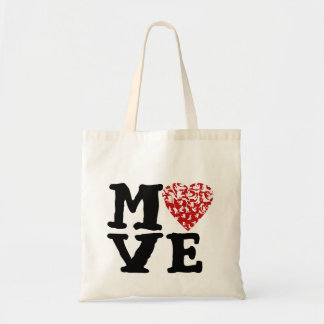 Mueva el corazón rojo del corazón el | y las bolsa tela barata
