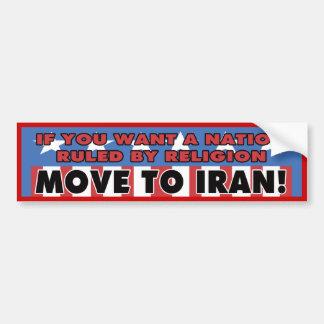 Muévase a la pegatina para el parachoques de Irán Pegatina De Parachoque