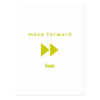Muévase adelante - ayune (texto amarillo) postal