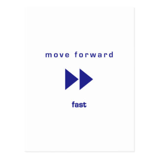 Muévase adelante - ayune (texto azul) postales