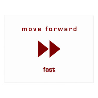 Muévase adelante - ayune (texto rojo) tarjetas postales