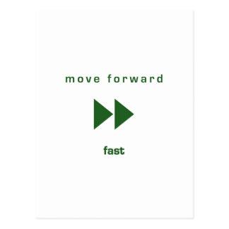 Muévase adelante - ayune (texto verde) postales