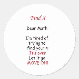 Muévase en matemáticas pegatina redonda