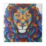 "Mufasa&#39;s new hair do ceramic tile<br><div class=""desc"">Inspired by both The Lion King and Berlin street art. I&#39;ve loved The Lion King all of my life and recently I have begun to draw the characters in a new light, with colourful manes and war paint. The geometric colourful face paint was inspired by a particular piece of street...</div>"
