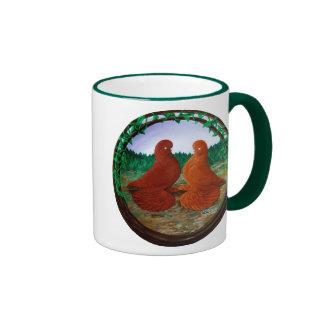 Muffed Tumbler Pigeons2 Ringer Coffee Mug