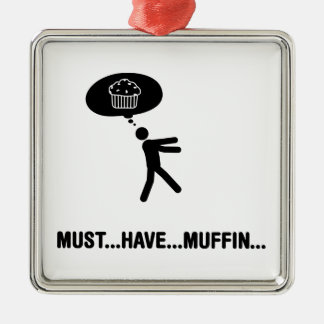 Muffin Lover Square Metal Christmas Ornament