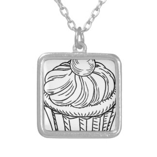 Muffin Vintage Retro Woodcut Style Silver Plated Necklace