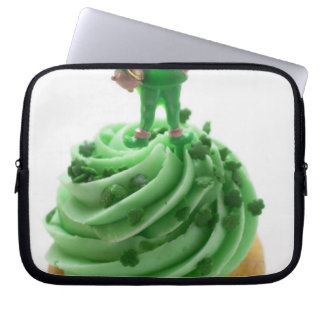 Muffin with green cream for St. Patrick's Day Laptop Sleeve