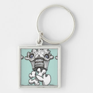 Muffyn Silver-Colored Square Keychain