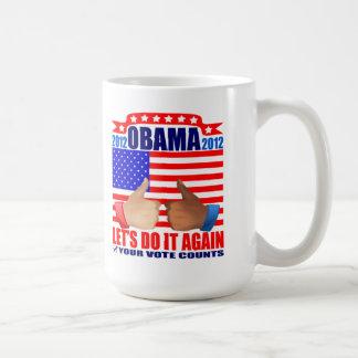 Mug: 2012 Obama -Thumbs Up - Ebony/Ivory