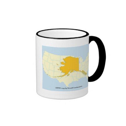 Mug / Alaska Map Over US Map