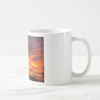 Mug-Blazing sunset with majestic clouds & sahuaro