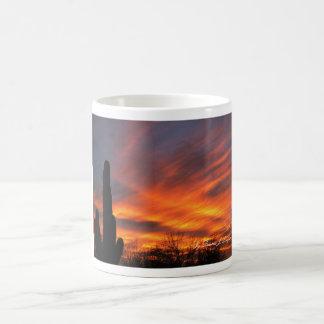 Mug-Blazing sunset with majestic clouds & sahuaro Coffee Mug