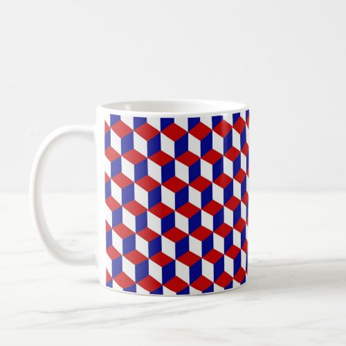 Mug - Block illusion in red, white, and blue