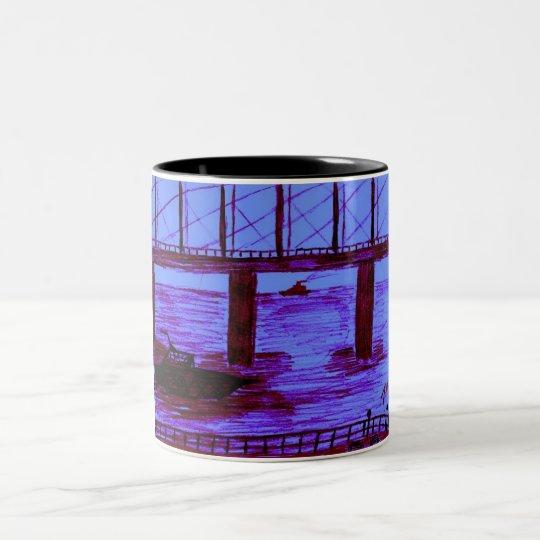 mug blue bridge