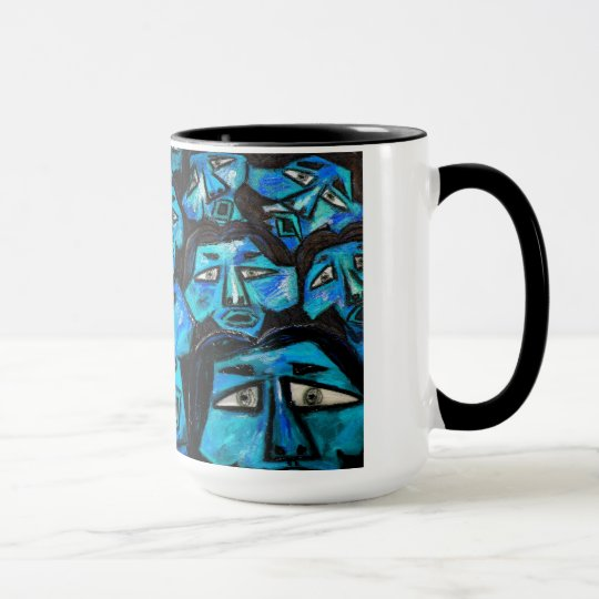 Mug - Blue faces