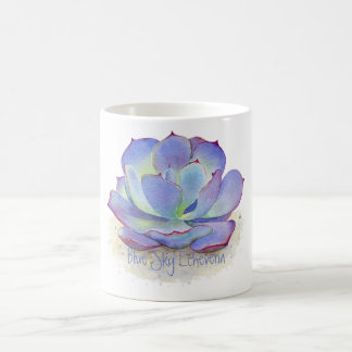 Mug - Blue Sky Echeveria Succulent - Watercolor