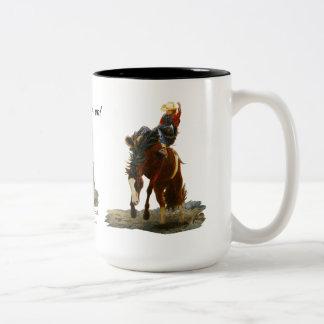 Mug, Bronc Buster, Still hangin' on! Two-Tone Coffee Mug