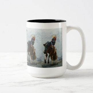 Mug, Bronc Buster, Still Hangin' On Two-Tone Coffee Mug