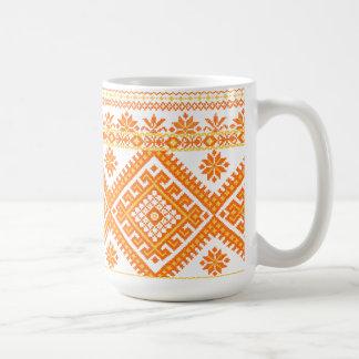 Mug Classic Orange Ukrainian Cross Stitch Print