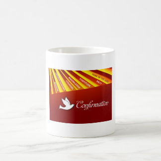 Mug, Confirmation, Dove on Red, Rays Coffee Mug