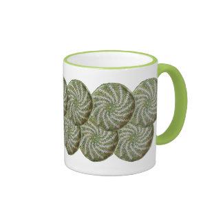 Mug - Crochet White Spiral on Green