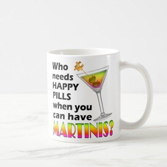 Mug, Cup - Martinis v. Happy Pills