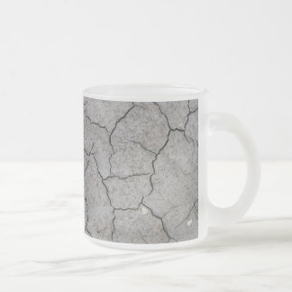 Mug: Dry Cracked Gray Soil Clay. Frosted finish Frosted Glass Mug