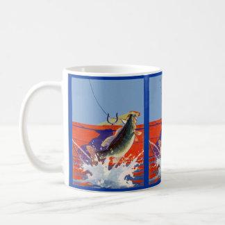 MUG ~ FISHING FISH HOOKED AT SIDE OF RED BOAT