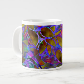Mug Floral Abstract Stained Glass 20 Oz Large Ceramic Coffee Mug