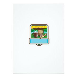 Mug Fly Tackle Bait Box Rod Reel Crest Woodcut Card
