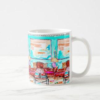 Mug for coffee, tea with living room vignette