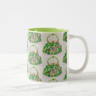 Mug for coffee, tea with turquoise handbag design