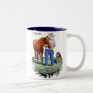 Mug Friends Man with his horse and dog