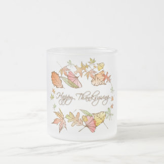 Mug (Frosted) - Happy Thanksgiving Autumn Leaves