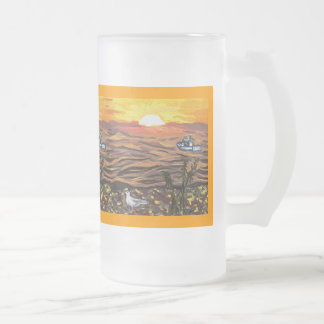MUG~Frosted or Coffee~Ali's Beach & Ali's CatBoat Frosted Glass Beer Mug