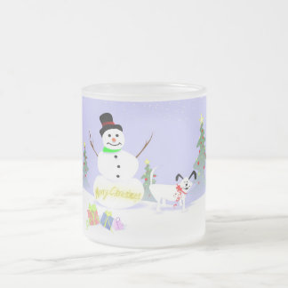 Mug (Frosted) Snowman & White Dog Merry Christmas