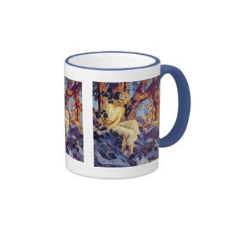 Mug:  Girl with Elves - by Maxfield Parrish Ringer Mug